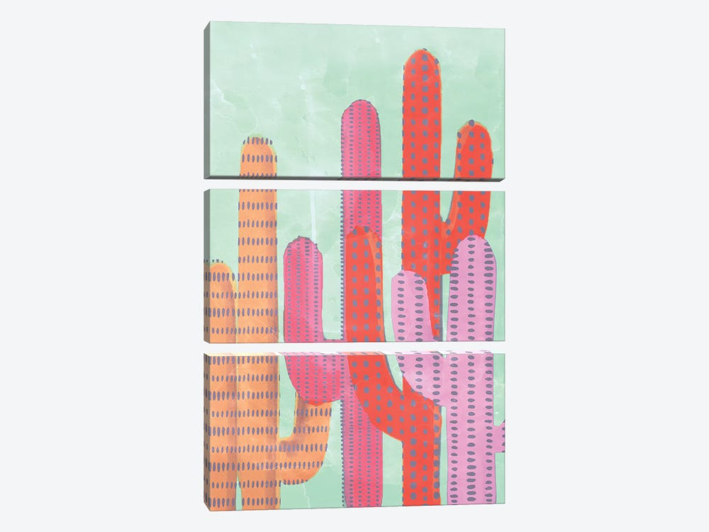 Funny Cactus by Emanuela Carratoni 3-piece Canvas Art Print
