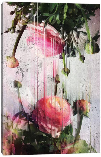 Glitched Buttercups Canvas Art Print