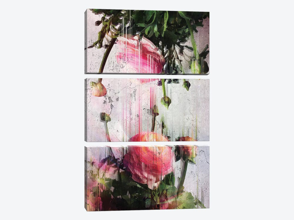 Glitched Buttercups by Emanuela Carratoni 3-piece Canvas Print