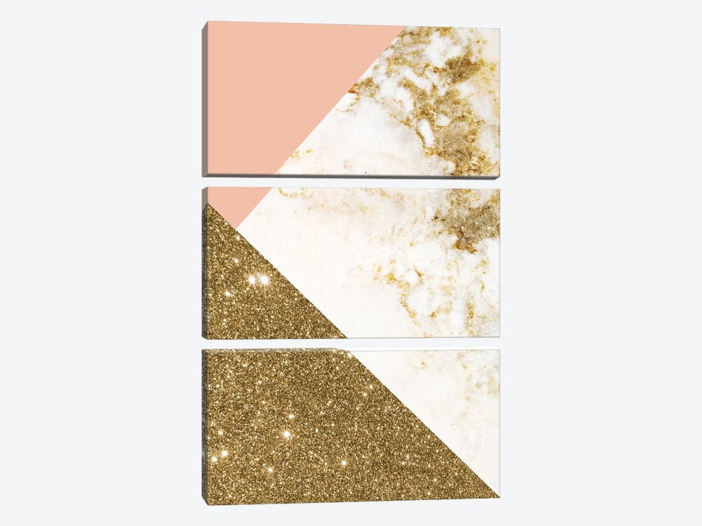 Gold Marble Collage by Emanuela Carratoni 3-piece Art Print