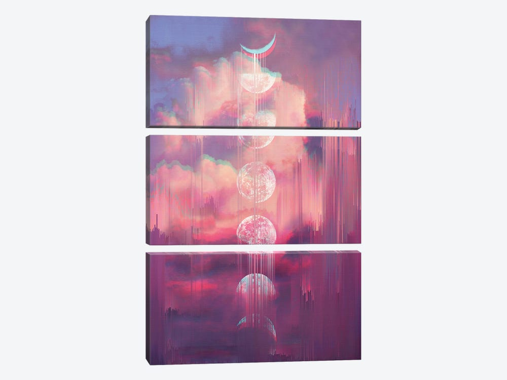 Moontime Glitches by Emanuela Carratoni 3-piece Canvas Artwork