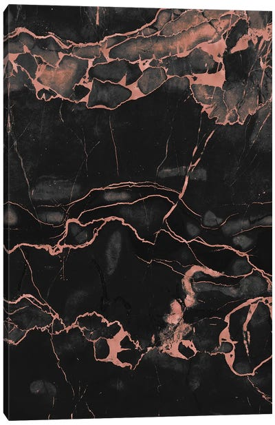 Rose Gold On Black Marble Canvas Art Print