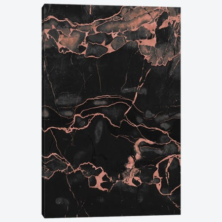 Rose Gold On Black Marble Canvas Print #CTI78} by Emanuela Carratoni Canvas Art Print
