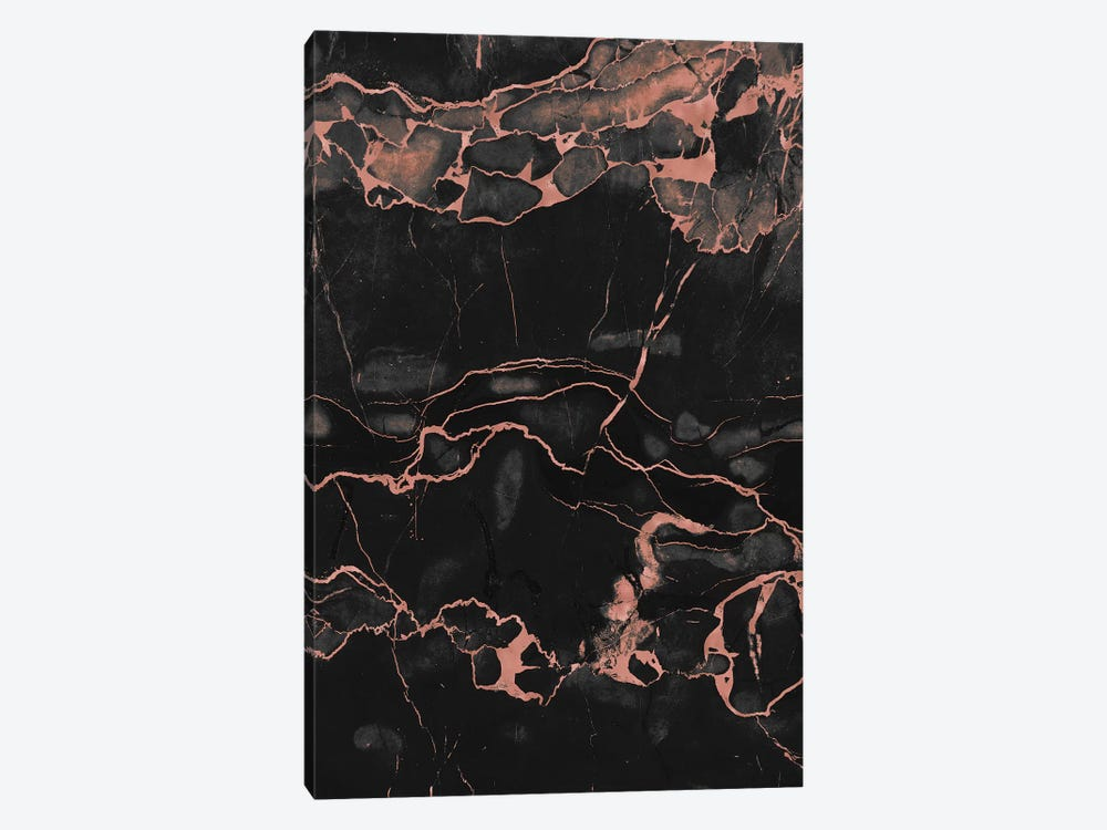 Rose Gold On Black Marble by Emanuela Carratoni 1-piece Canvas Wall Art