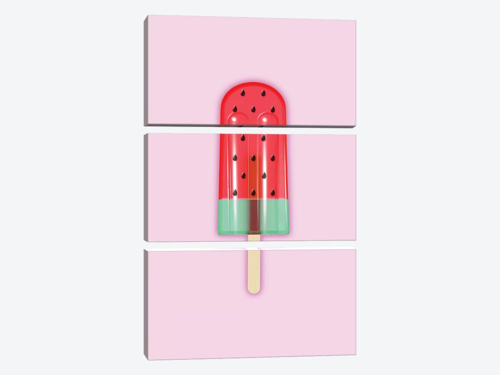 Watermelon Popsicle by Emanuela Carratoni 3-piece Canvas Wall Art