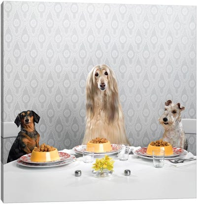 3 Dogs At Dinner Canvas Art Print