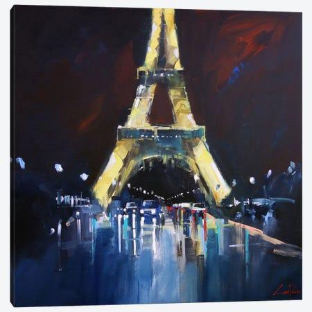 Eiffel Rain Canvas Print #CTP6} by Craig Trewin Penny Art Print