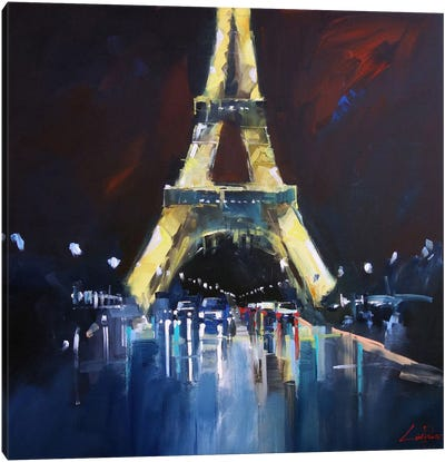 Eiffel Rain Canvas Art Print