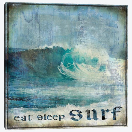 Eat Sleep Surf Canvas Print #CTR10} by Charlie Carter Canvas Art