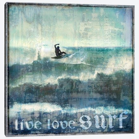 Live Love Surf Canvas Print #CTR13} by Charlie Carter Canvas Art