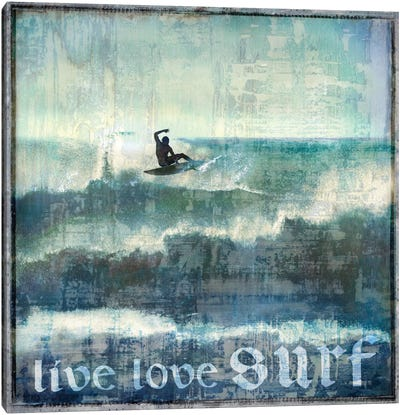 Live Love Surf Canvas Print #CTR13