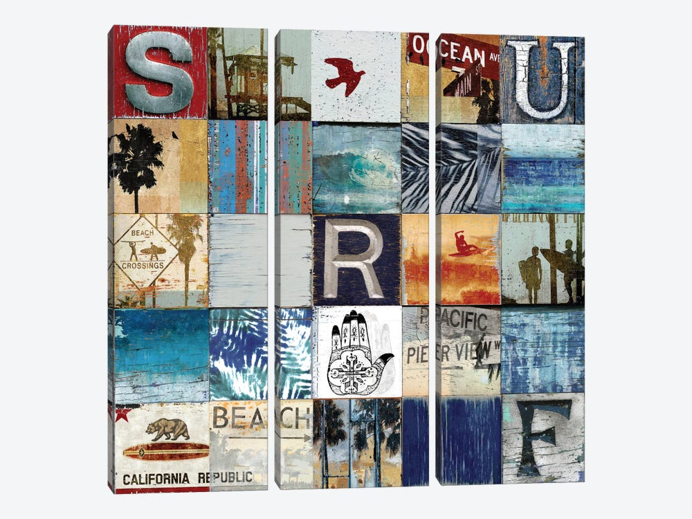 Surf City by Charlie Carter 3-piece Canvas Print