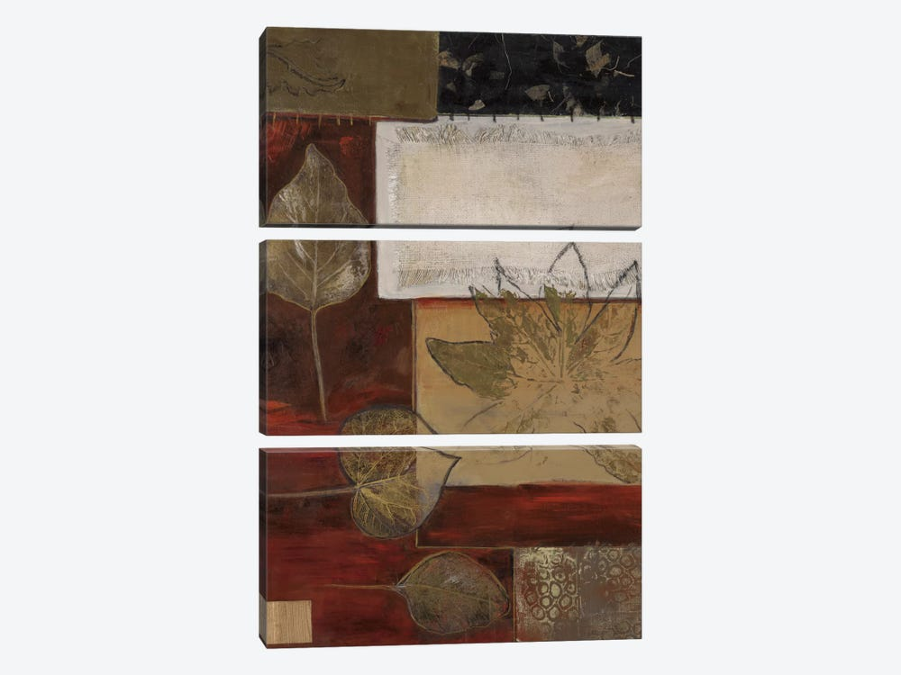 Burlap And Gold I by Connie Tunick 3-piece Canvas Print