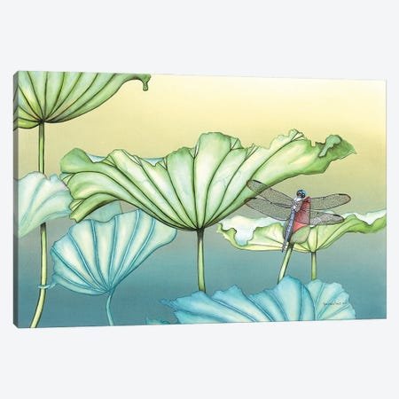 Dragonfly On Lotus Blossum Canvas Print #CTW15} by Christine Reichow Canvas Wall Art