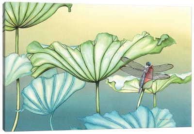 Dragonfly On Lotus Blossum Canvas Art Print