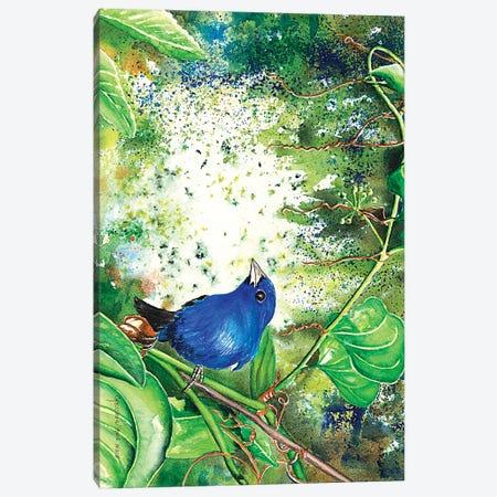 Indigo Bunting Canvas Print #CTW30} by Christine Reichow Canvas Print