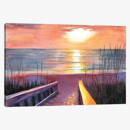 Sea Oat Sunset Canvas Print #CTW55} by Christine Reichow Canvas Wall Art