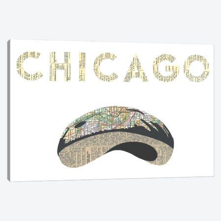 Chicago Bean Canvas Print #CTZ11} by Paper Cutz Canvas Artwork