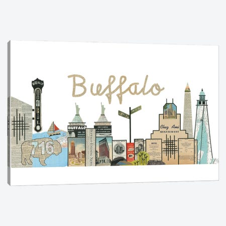 Buffalo Skyline Canvas Print #CTZ14} by Paper Cutz Canvas Art Print