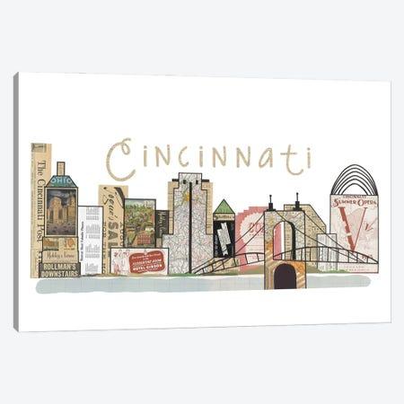 Cincinnati Horizontal Skyline Canvas Print #CTZ15} by Paper Cutz Canvas Print