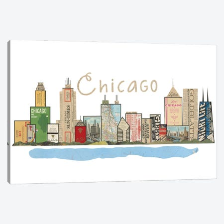 Chicago Skyline Canvas Print #CTZ16} by Paper Cutz Art Print