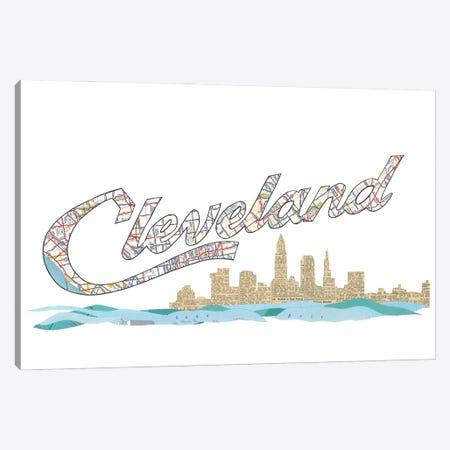 Cleveland Script Skyline Canvas Print #CTZ17} by Paper Cutz Canvas Art Print