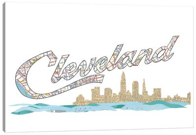 Cleveland Script Skyline Canvas Art Print