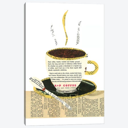 Coffee Cup Canvas Print #CTZ18} by Paper Cutz Canvas Art