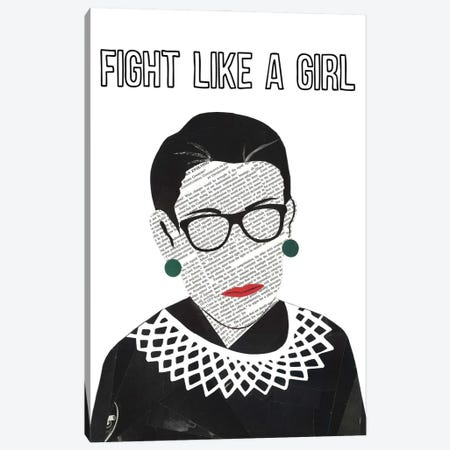 RBG Fight Like A Girl Canvas Print #CTZ21} by Paper Cutz Canvas Print