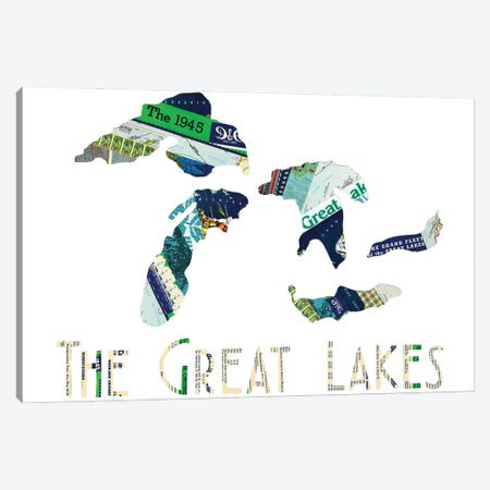 Great Lakes Canvas Print #CTZ24} by Paper Cutz Canvas Wall Art