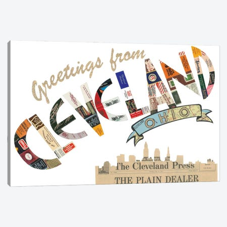 Greetings From Cleveland Canvas Print #CTZ29} by Paper Cutz Art Print