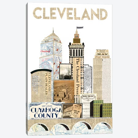 Cleveland Skyline Special Edition Canvas Print #CTZ2} by Paper Cutz Canvas Artwork