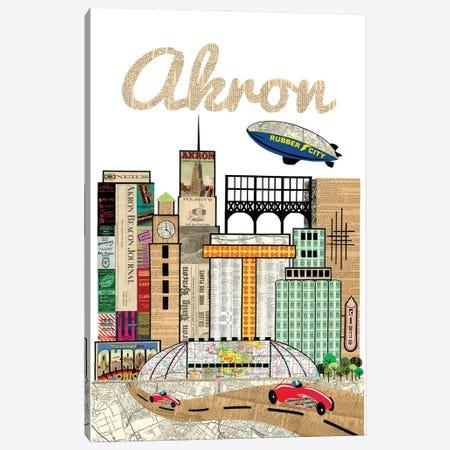 Akron Oh Skyline Canvas Print #CTZ40} by Paper Cutz Canvas Print