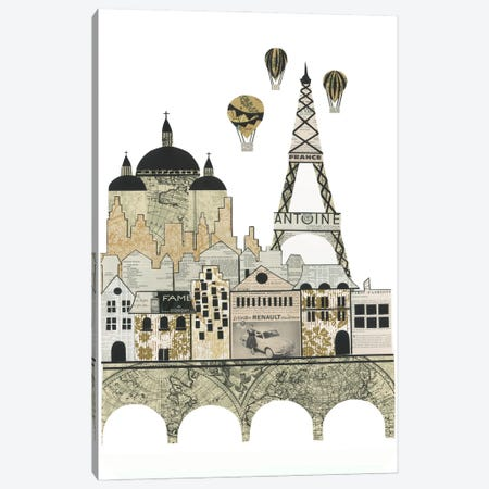 Paris Canvas Print #CTZ41} by Paper Cutz Art Print
