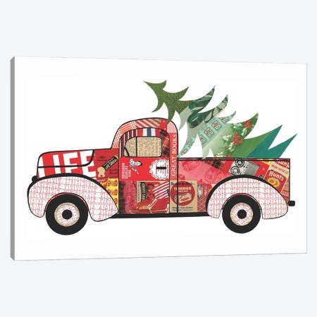 Red Truck With Xmas Tree Canvas Print #CTZ44} by Paper Cutz Canvas Artwork