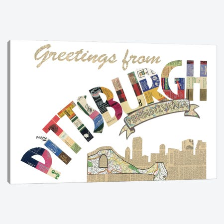 Greetings From Pittsburgh Canvas Print #CTZ47} by Paper Cutz Canvas Artwork