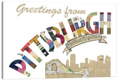 Greetings From Pittsburgh Canvas Art Print