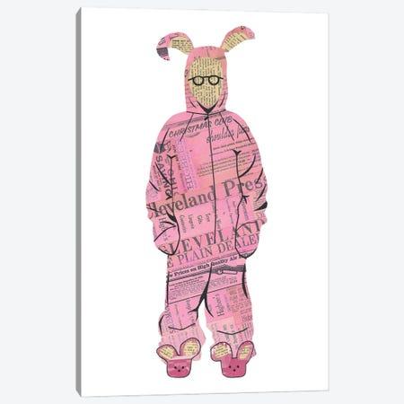 Ralphie Pink Bunny Canvas Print #CTZ49} by Paper Cutz Art Print