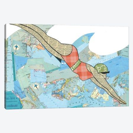 Swimmer Canvas Print #CTZ54} by Paper Cutz Canvas Print