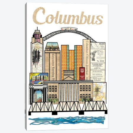 Columbus Oh Vertical Skyline Canvas Print #CTZ59} by Paper Cutz Canvas Artwork