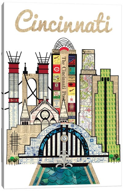 Cincinnati Vertical Skyline Canvas Art Print