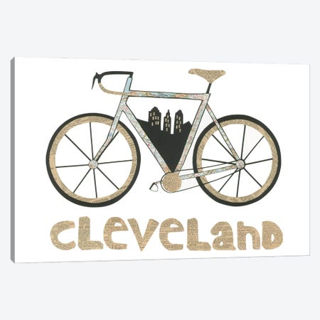Bike Cleveland Canvas Print #CTZ9} by Paper Cutz Canvas Art