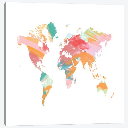 The Artist's World Map Canvas Print #CVA134} by Chelsea Victoria Art Print