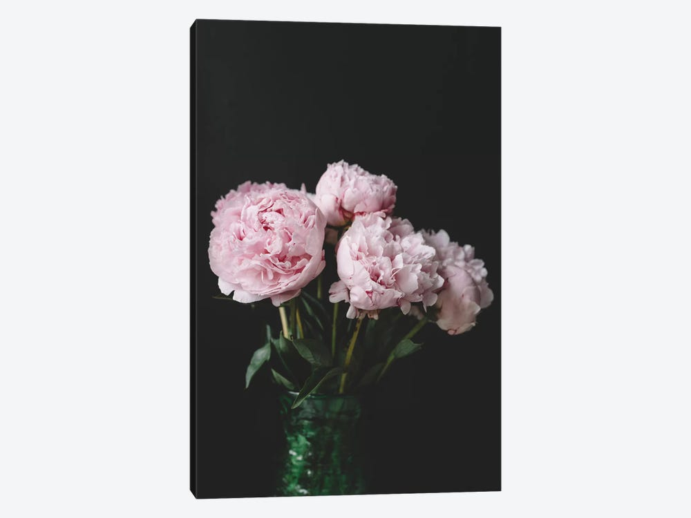 Peonies On Black II by Chelsea Victoria 1-piece Canvas Wall Art