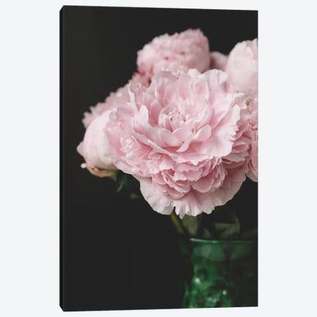 Pink Peonies On Black II Canvas Print #CVA177} by Chelsea Victoria Canvas Art Print