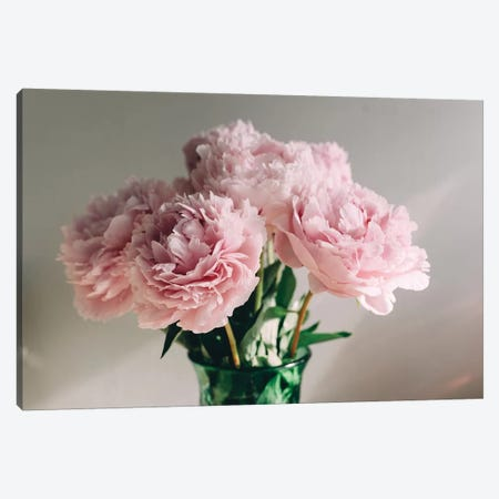 Pink Peonies On White I Canvas Print #CVA179} by Chelsea Victoria Canvas Art