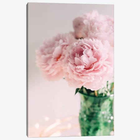 Pink Peonies On White II Canvas Print #CVA180} by Chelsea Victoria Art Print