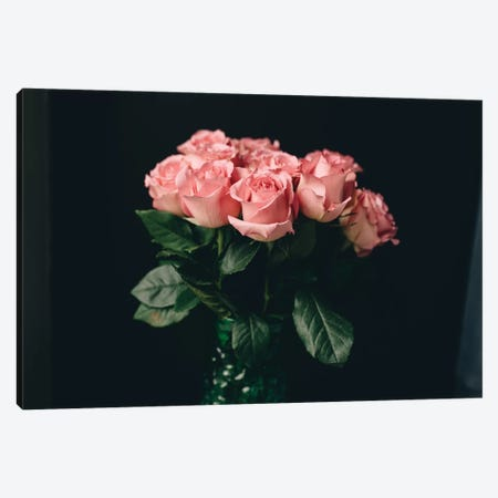 Pink Roses On Black I Canvas Print #CVA182} by Chelsea Victoria Canvas Print