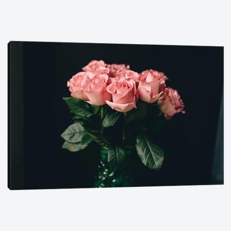 Pink Roses On Black I Canvas Print #CVA182} by Chelsea Victoria Canvas Print