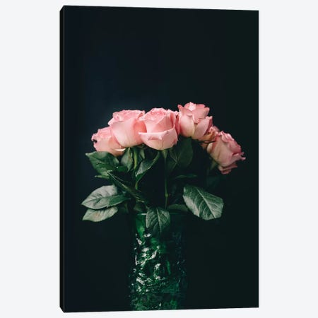 Pink Roses On Black II Canvas Print #CVA183} by Chelsea Victoria Canvas Art Print